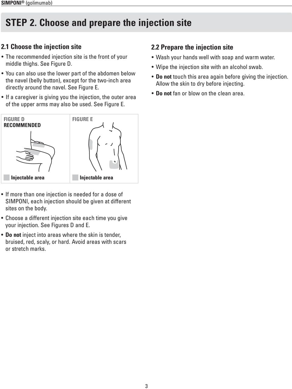 If a caregiver is giving you the injection, the outer area of the upper arms may also be used. See Figure E. 2.2 Prepare the injection site Wash your hands well with soap and warm water.