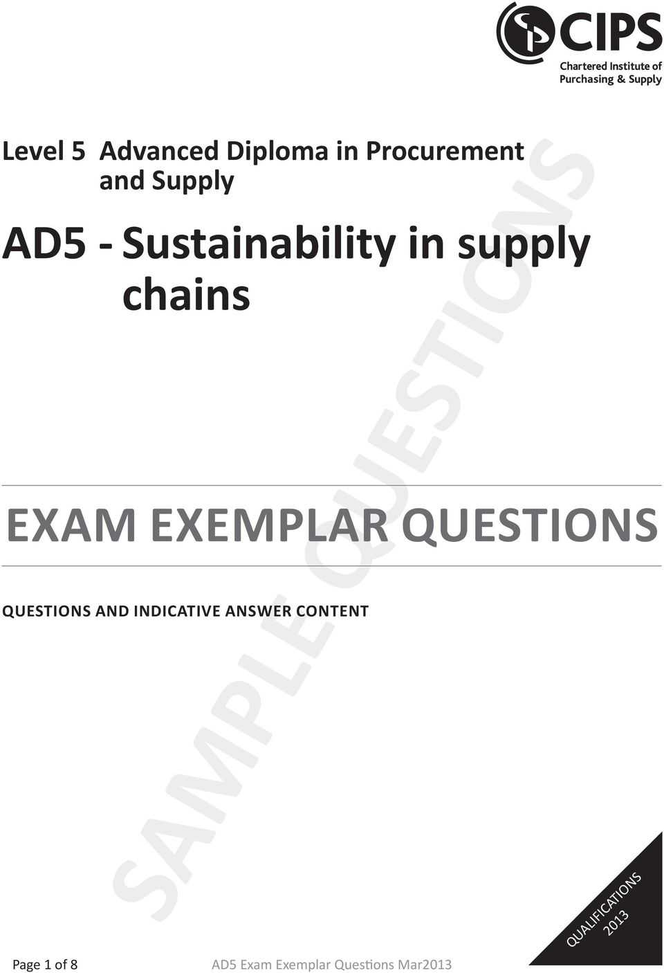 EXAM EXEMPLAR QUESTIONS QUESTIONS AND