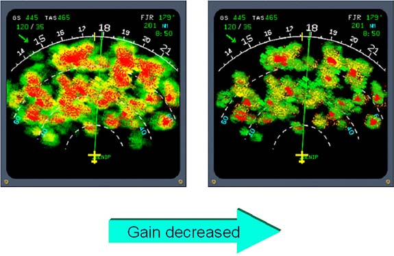 In general, the AUTO position should be used, except for cell evaluation. If gain is used manually for in-depth weather analysis, it must be reset to CAL (AUTO) when analysis is complete.