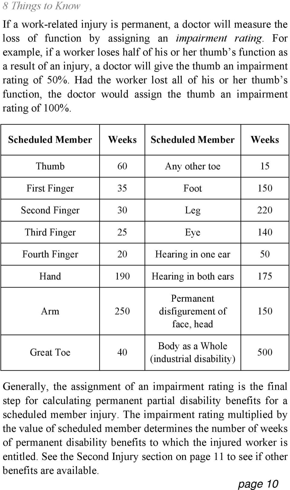 Had the worker lost all of his or her thumb s function, the doctor would assign the thumb an impairment rating of 100%.