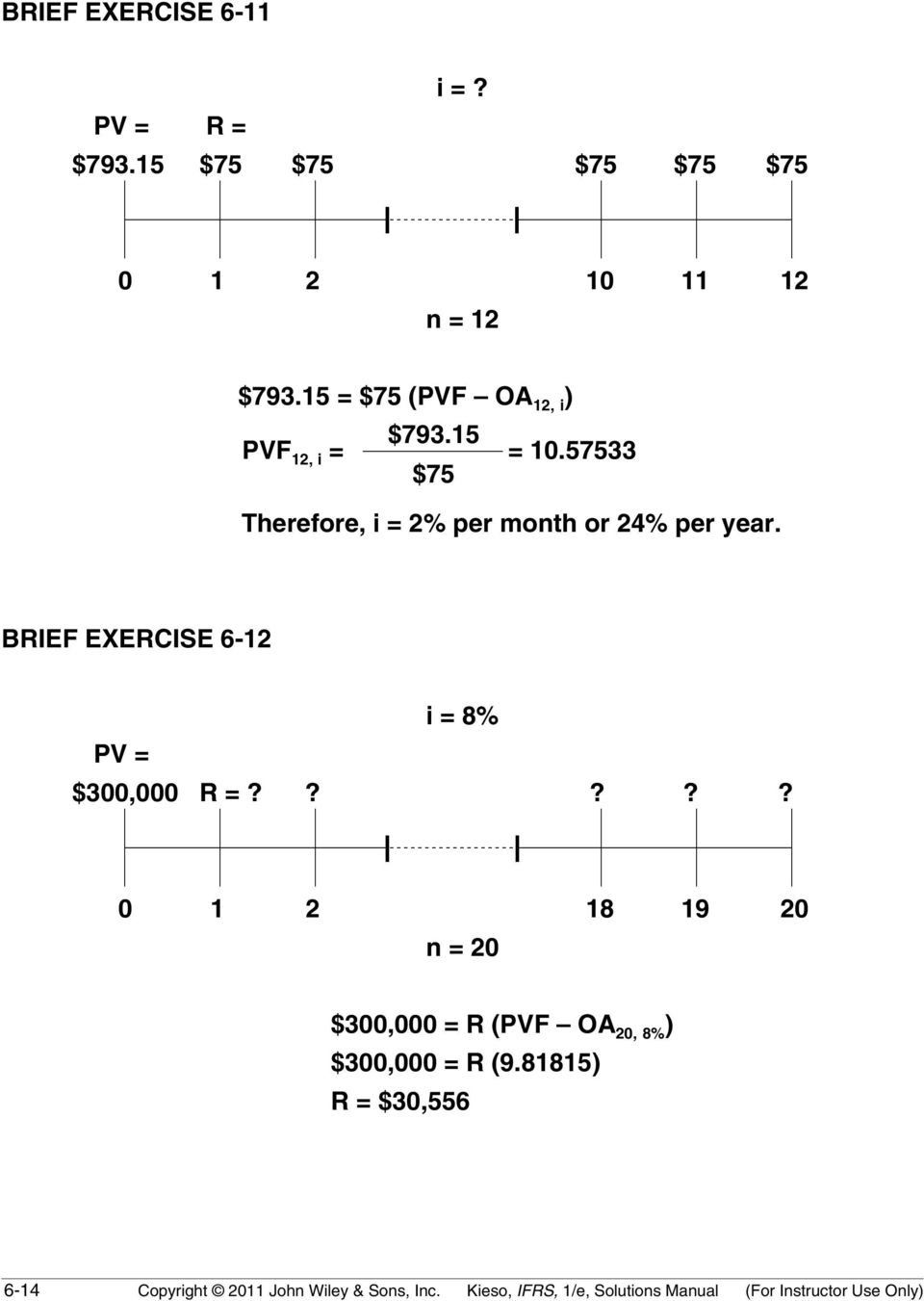BRIEF EXERCISE 6-12 i = 8% PV = $300,000 R =?