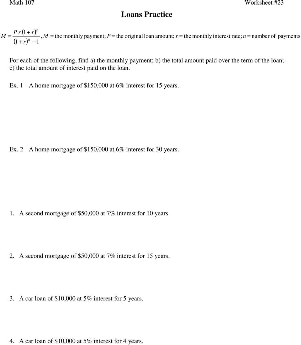 Loans Practice Math 107 Worksheet 23 PDF – Math for Year 4 Worksheets