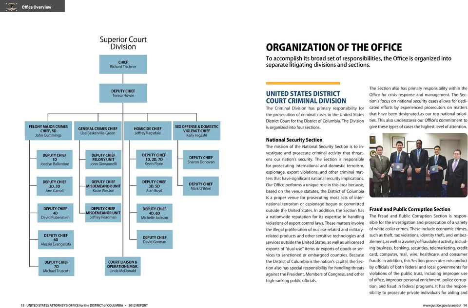 Felony Major Crimes Chief, 5D John Cummings General Crimes Chief Lisa Baskerville-Green Deputy Chief Teresa Howie Homicide CHIEF Jeffrey Ragsdale Sex Offense & Domestic Violence Chief Kelly Higashi