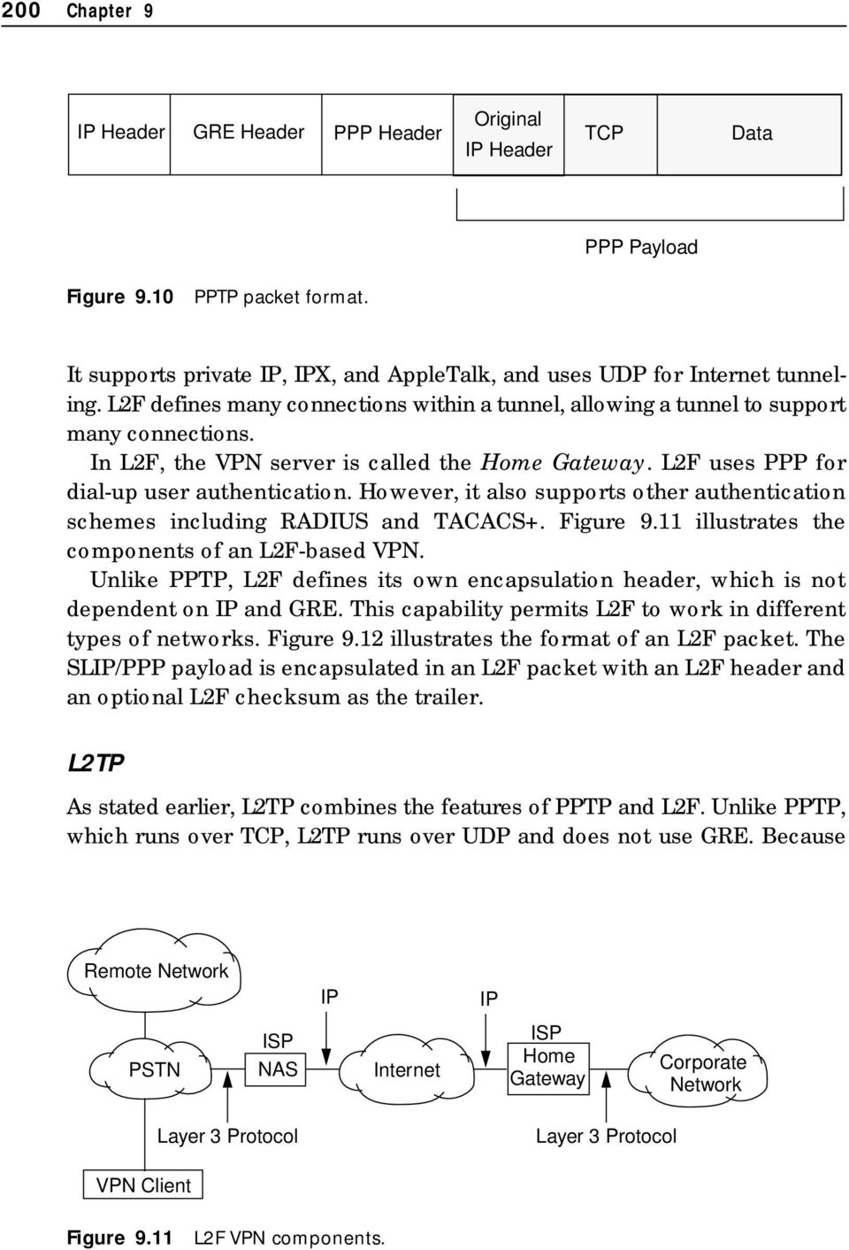 However, it also supports other authentication schemes including RADIUS and TACACS+. Figure 9.11 illustrates the components of an L2F-based VPN.