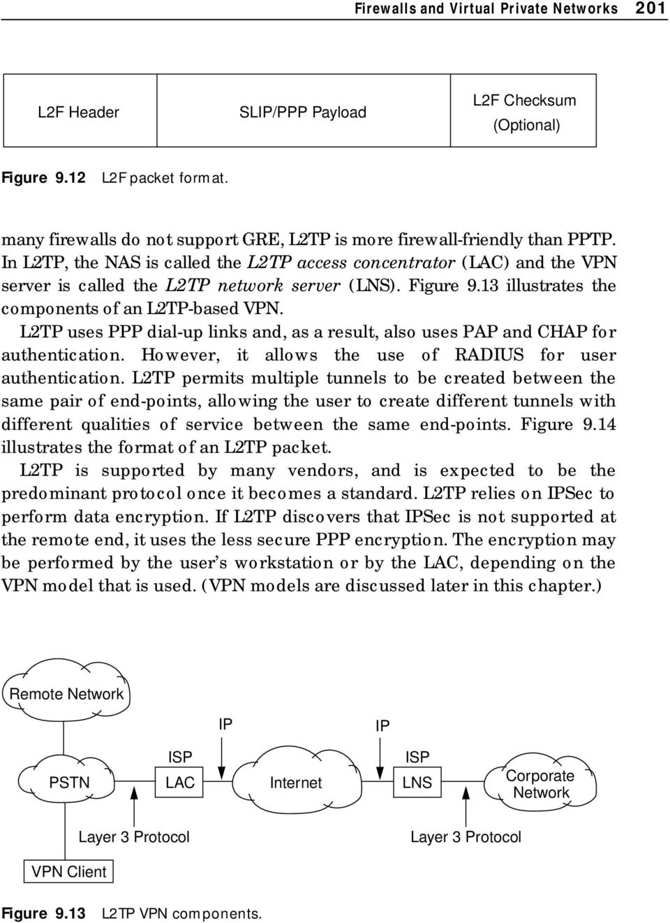 Figure 9.13 illustrates the components of an L2TP-based VPN. L2TP uses PPP dial-up links and, as a result, also uses PAP and CHAP for authentication.