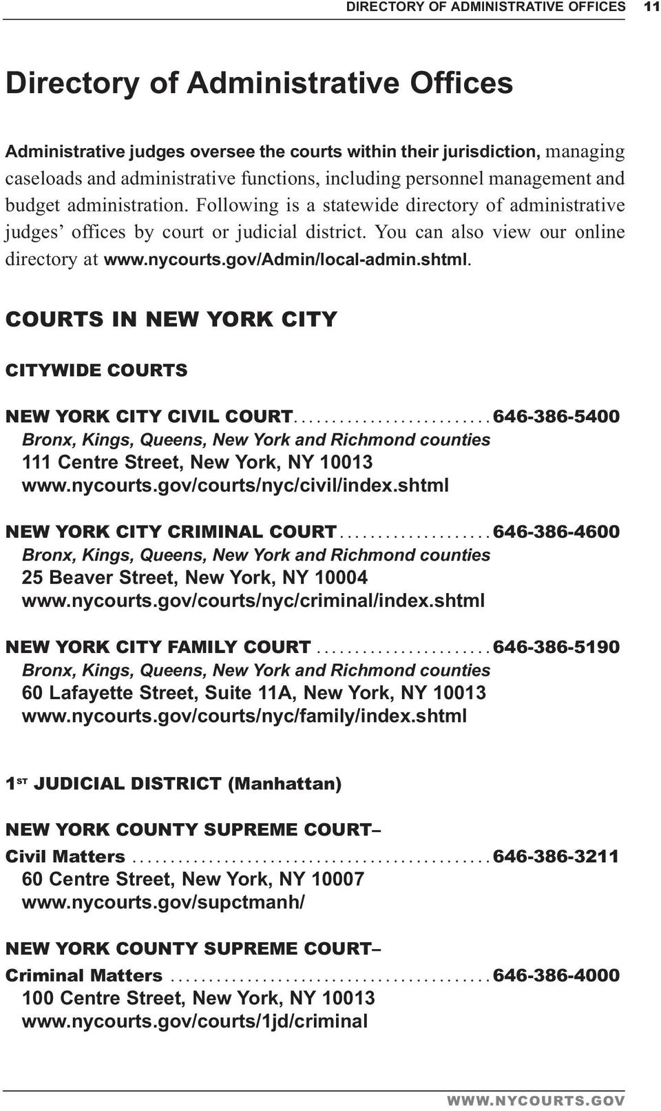 You can also view our online directory at www.nycourts.gov/admin/local-admin.shtml. COURTS IN NEW YORK CITY CITYWIDE COURTS NEW YORK CITY CIVIL COURT.