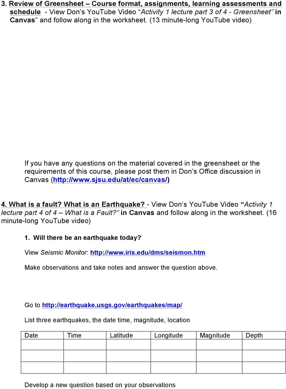 worksheet Earthquakes Worksheet geology 112 earthquakes activity 1 worksheet introduction to the 13 minute long youtube video if you have any questions on material