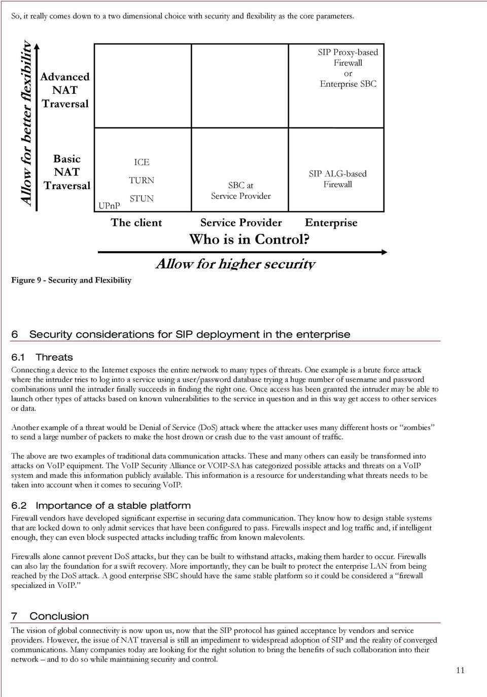 ALG-based Firewall The client Service Provider Enterprise Who is in Control? Allow for higher security 6 Security considerations for SIP deployment in the enterprise 6.