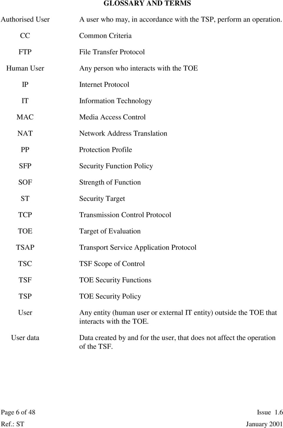 Function Policy Strength of Function Security Target Transmission Control Protocol Target of Evaluation Transport Service Application Protocol TSF Scope of Control TOE Security Functions TOE Security