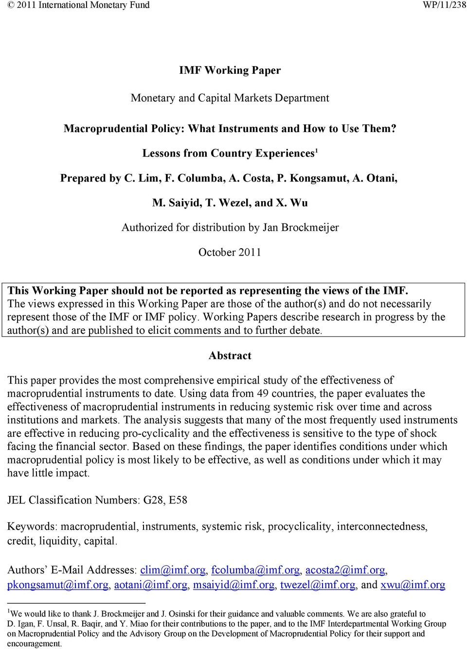 Wu Authorized for distribution by Jan Brockmeijer October 2011 This Working Paper should not be reported as representing the views of the IMF.