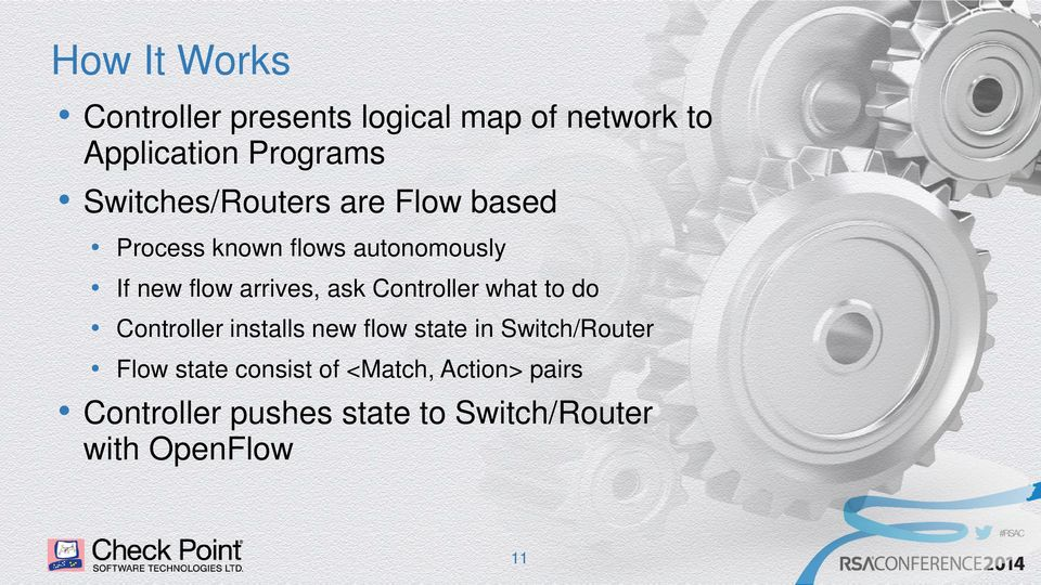 flow arrives, ask Controller what to do Controller installs new flow state in