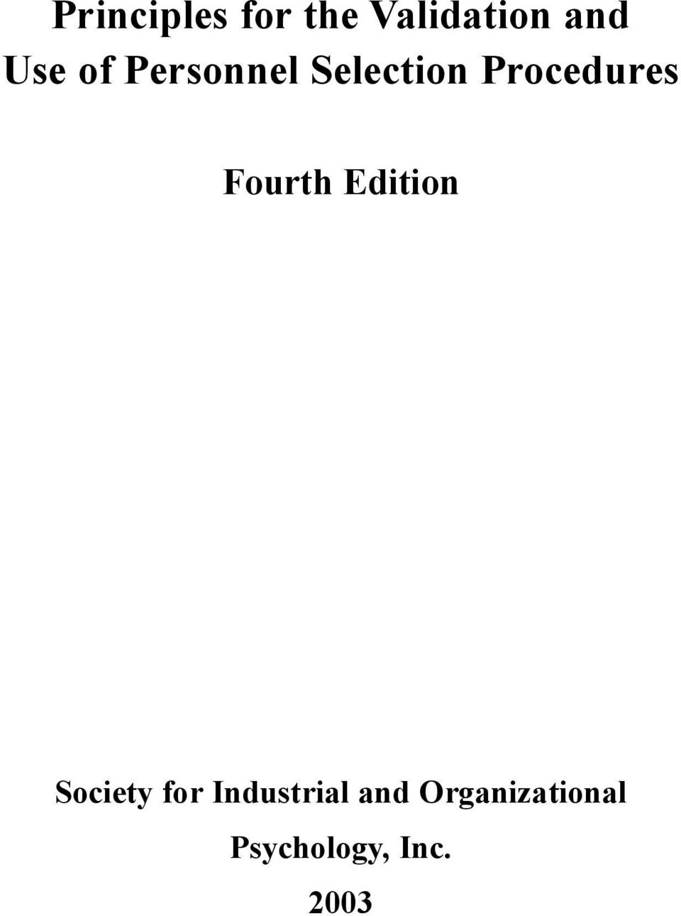 Fourth Edition Society for Industrial