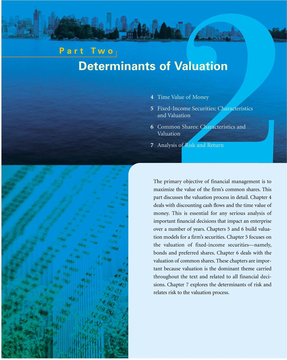 Chapter 4 deals with discounting cash flows and the time value of money. This is essential for any serious analysis of important financial decisions that impact an enterprise over a number of years.