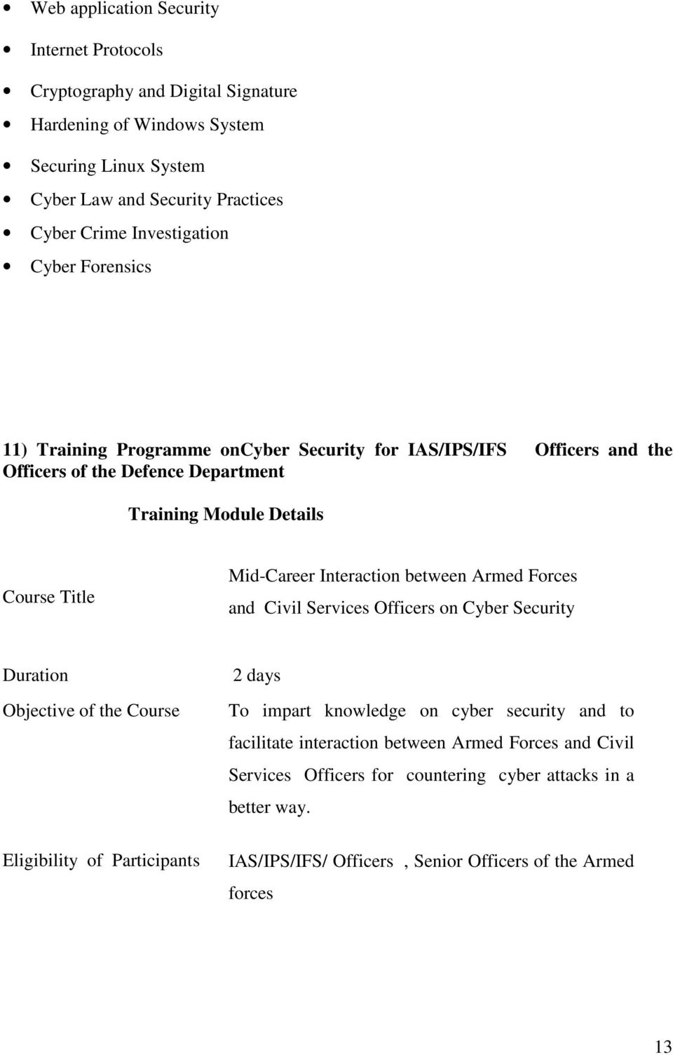 Department Mid-Career Interaction between Armed Forces and Civil Services Officers on Cyber Security 2 days To impart knowledge on cyber security and to