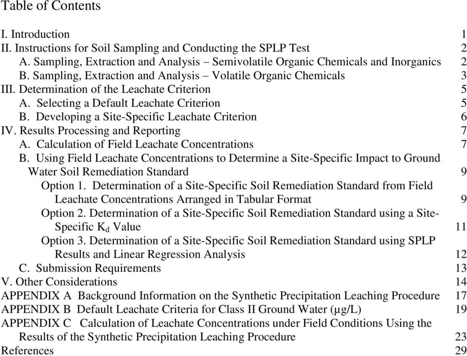 Developing a Site-Specific Leachate Criterion 6 IV. Results Processing and Reporting 7 A. Calculation of Field Leachate Concentrations 7 B.