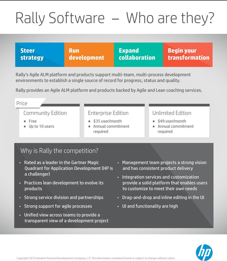 source of record for progress, status and quality. Rally provides an Agile ALM platform and products backed by Agile and Lean coaching services.