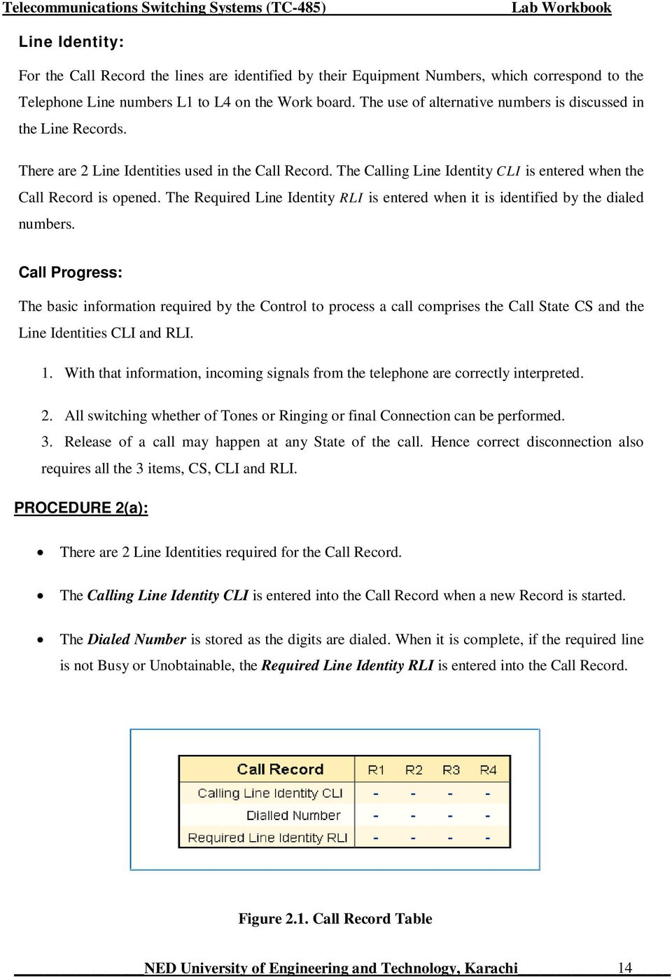The Required Line Identity RLI is entered when it is identified by the dialed numbers.