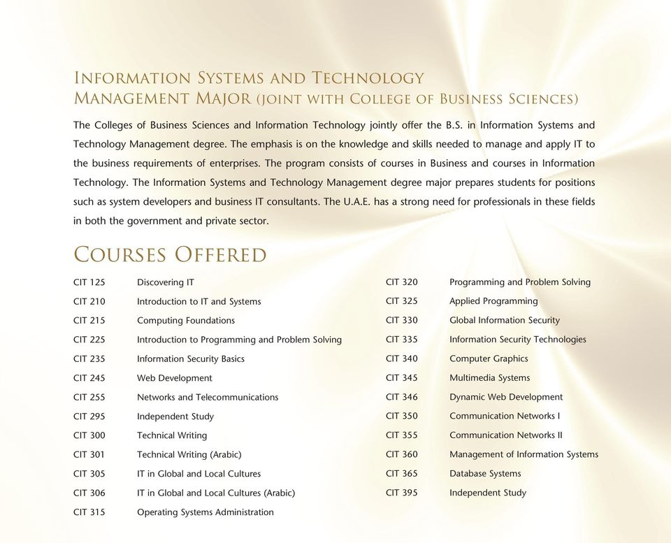The program consists of courses in Business and courses in Information Technology.