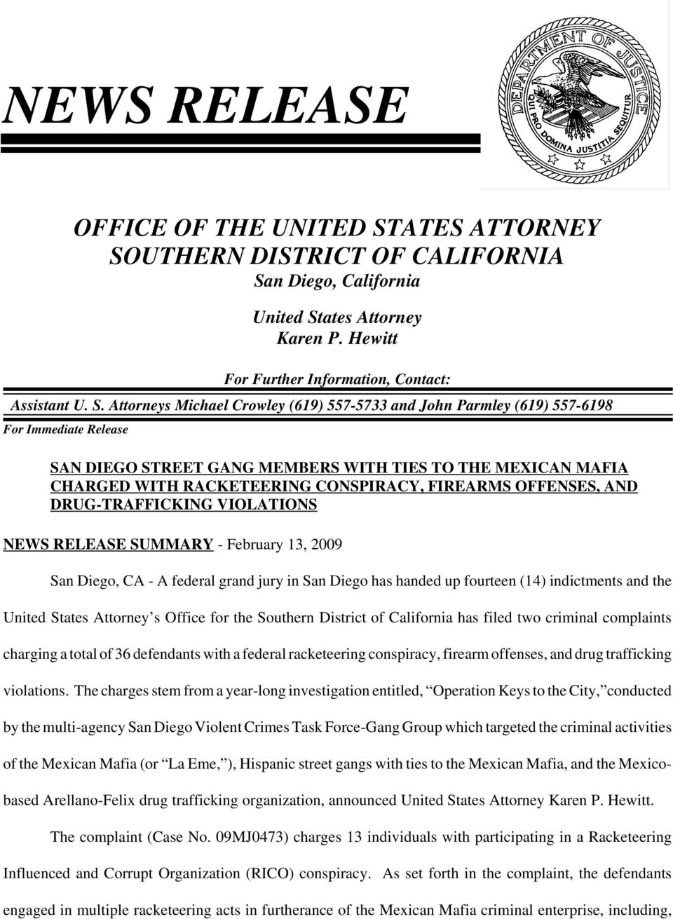 UTHERN DISTRICT OF CALIFORNIA Sa