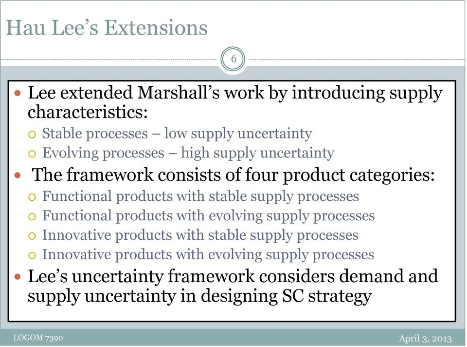 supply processes Functional products with evolving supply processes Innovative products with stable supply processes Innovative