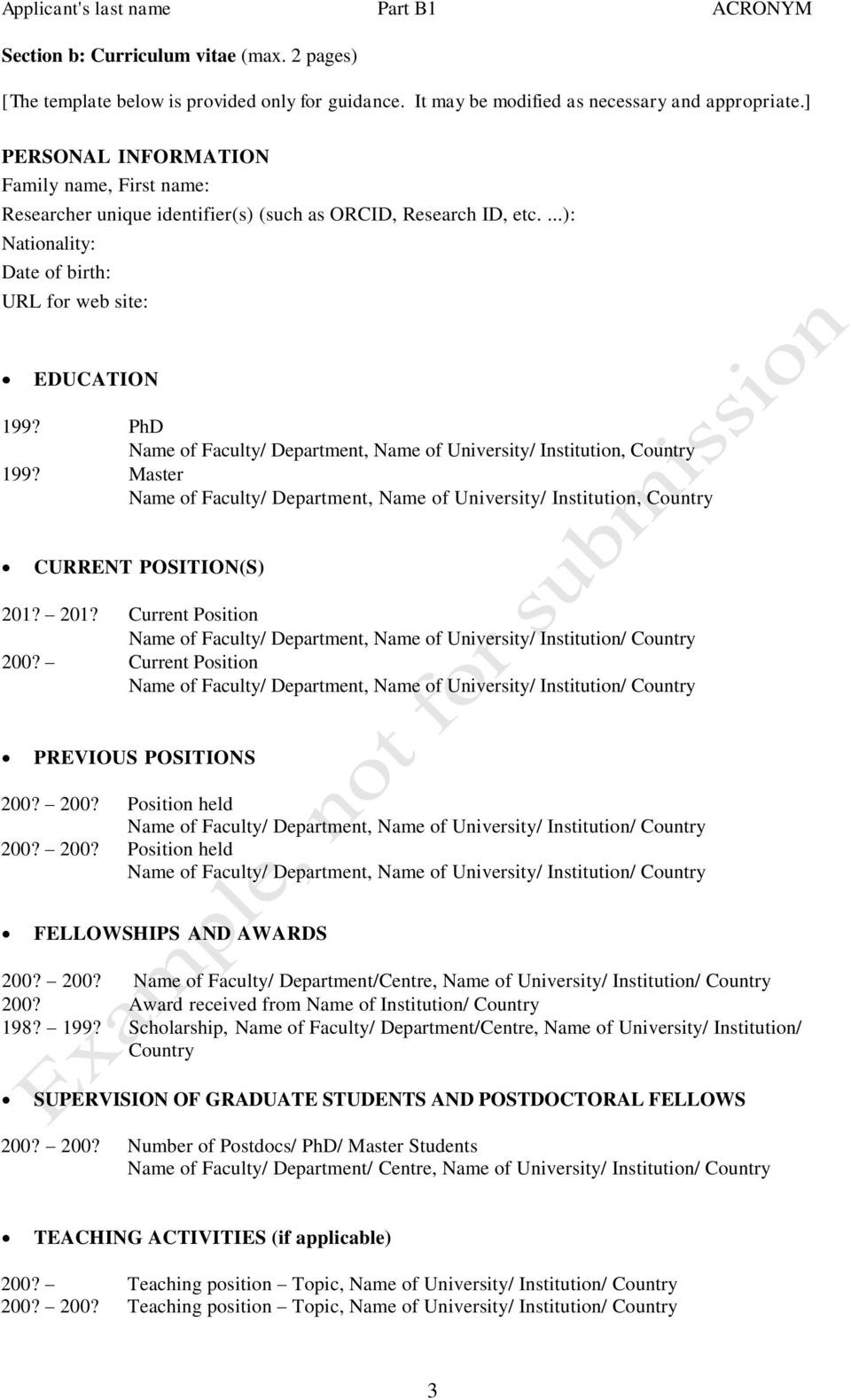 PhD Name of Faculty/ Department, Name of University/ Institution, Country 199? Master Name of Faculty/ Department, Name of University/ Institution, Country CURRENT POSITION(S) 201?