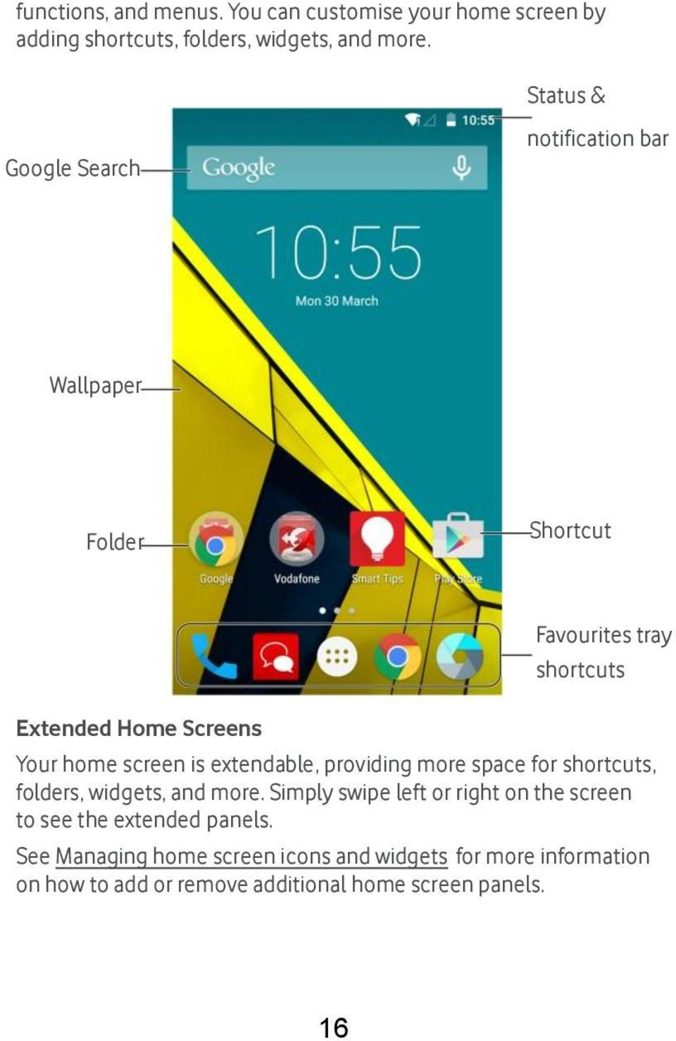 screen is extendable, providing more space for shortcuts, folders, widgets, and more.