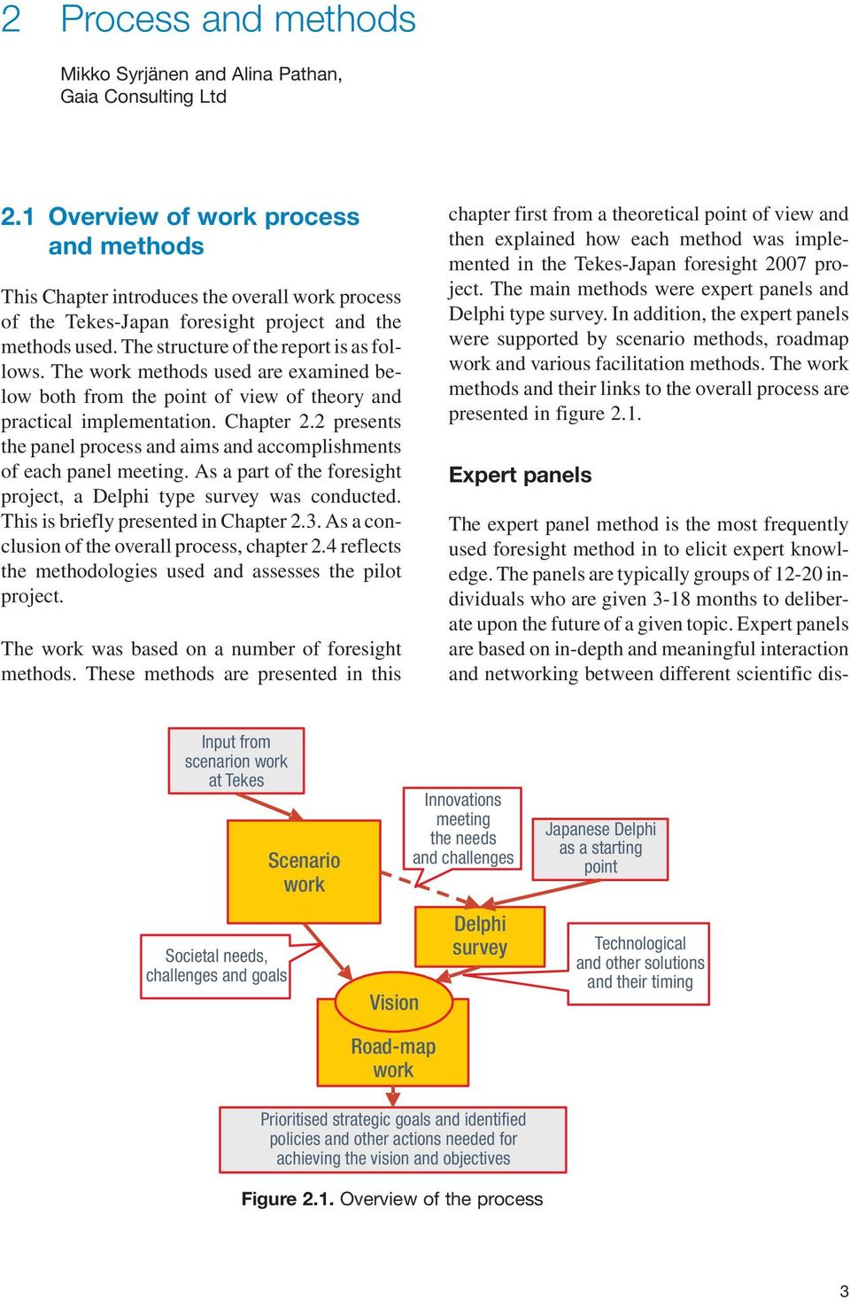 The work methods used are examined below both from the point of view of theory and practical implementation. Chapter 2.2 presents the panel process and aims and accomplishments of each panel meeting.