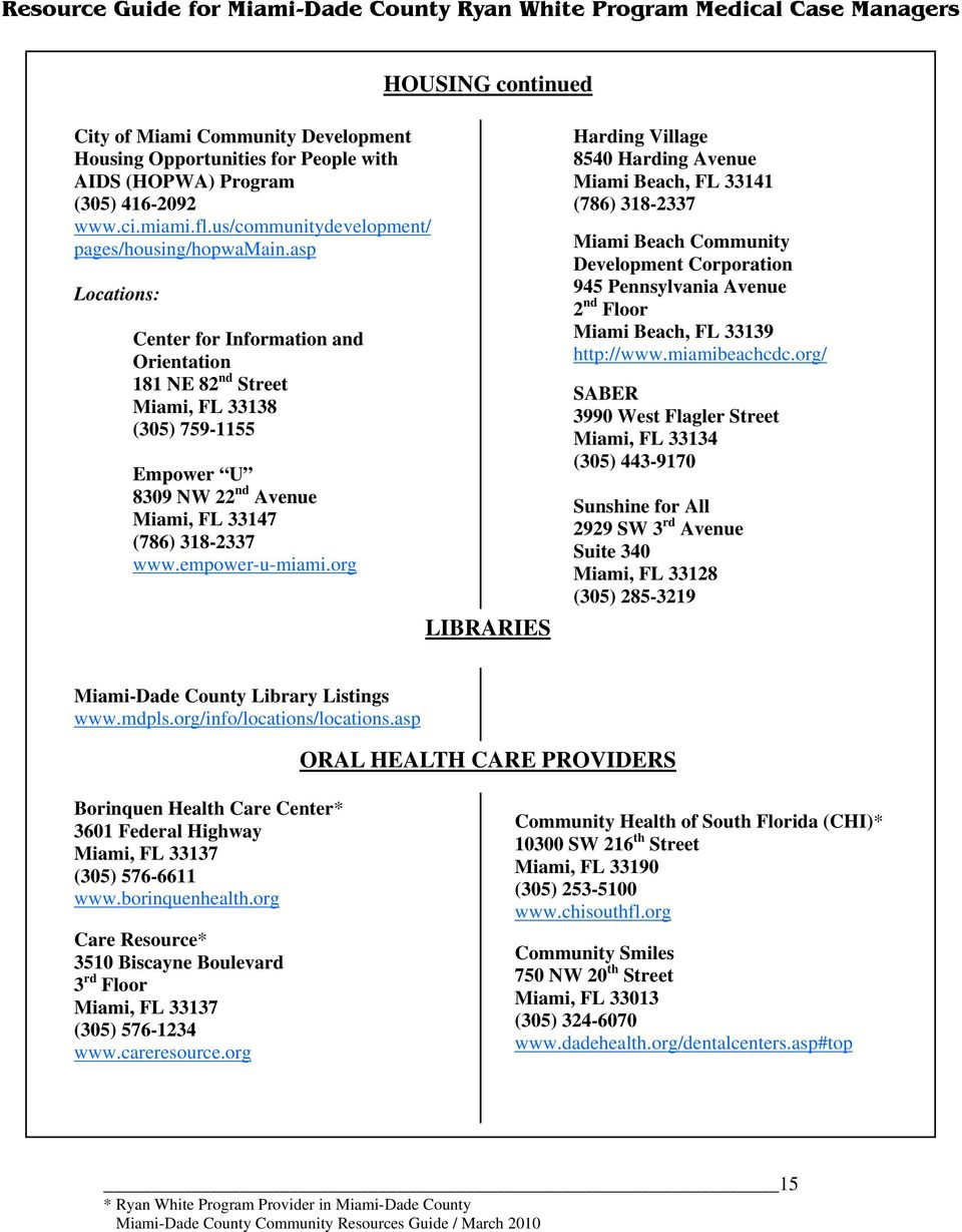 org LIBRARIES Harding Village 8540 Harding Avenue Miami Beach, FL 33141 (786) 318-2337 Miami Beach Community Development Corporation 945 Pennsylvania Avenue 2 nd Floor Miami Beach, FL 33139