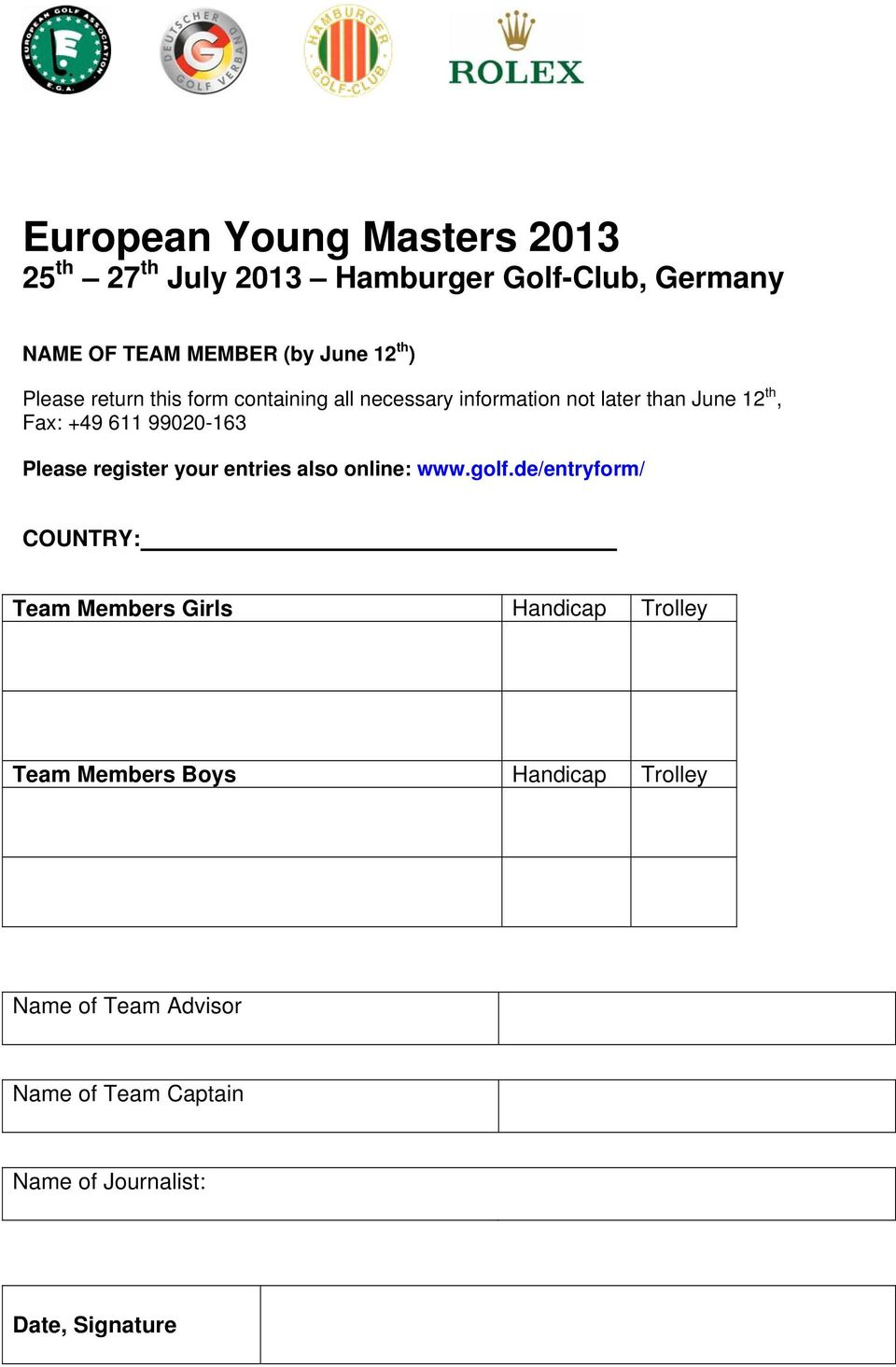 99020-163 Please register your entries also online: www.golf.