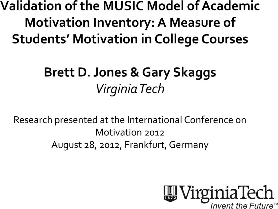 Jones & Gary Skaggs Virginia Tech Research presented at the