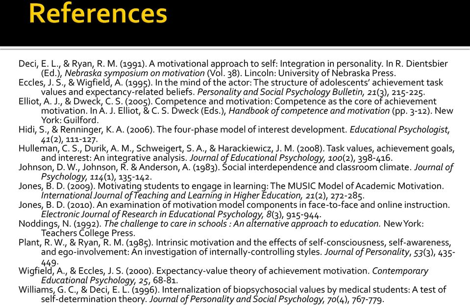Personality and Social Psychology Bulletin, 21(3), 215-225. Elliot, A. J., & Dweck, C. S. (2005). Competence and motivation: Competence as the core of achievement motivation. In A. J. Elliot, & C. S. Dweck (Eds.