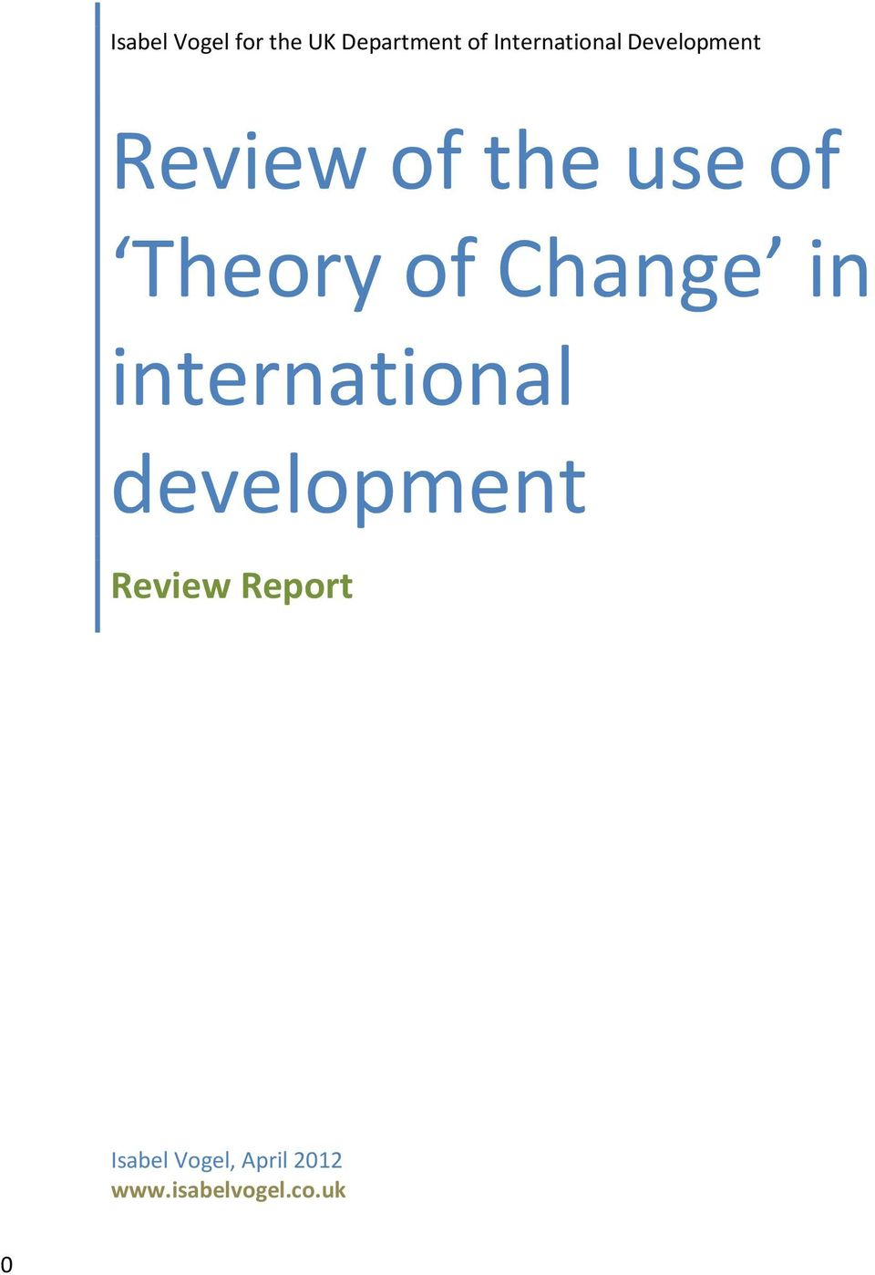 Theory of Change in international development