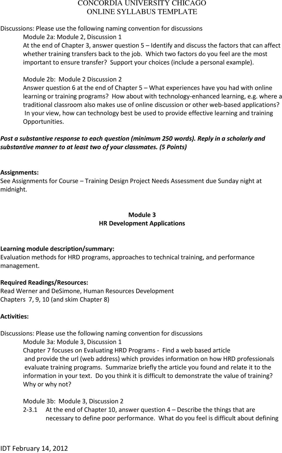 Awesome Training Module Template Ideas - Entry Level Resume ...
