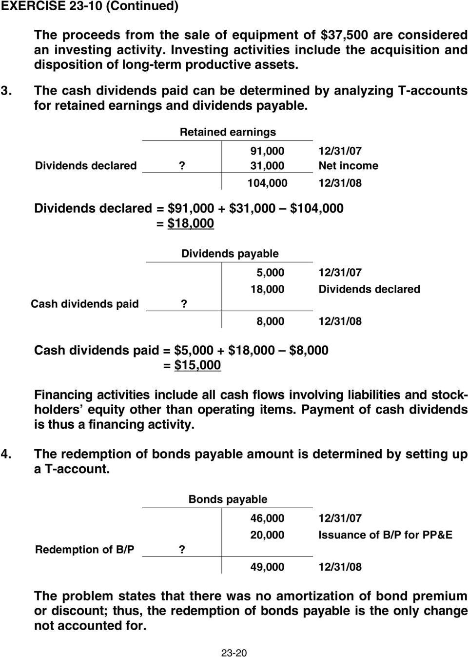 The cash dividends paid can be determined by analyzing T-accounts for retained earnings and dividends payable. Retained earnings 91,000 12/31/07 Dividends declared?