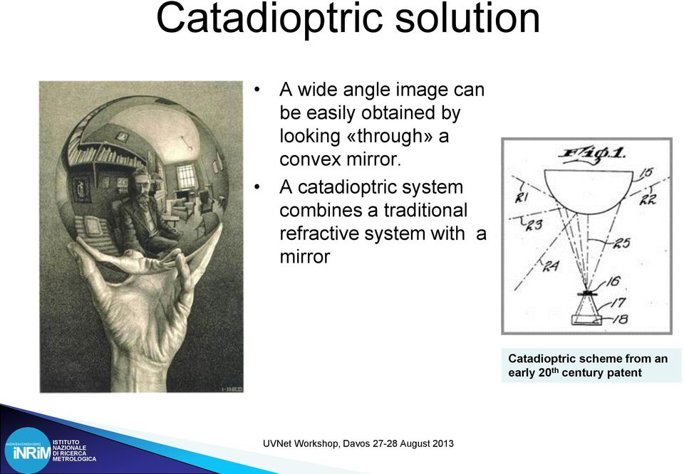 A catadioptric system combines a traditional refractive
