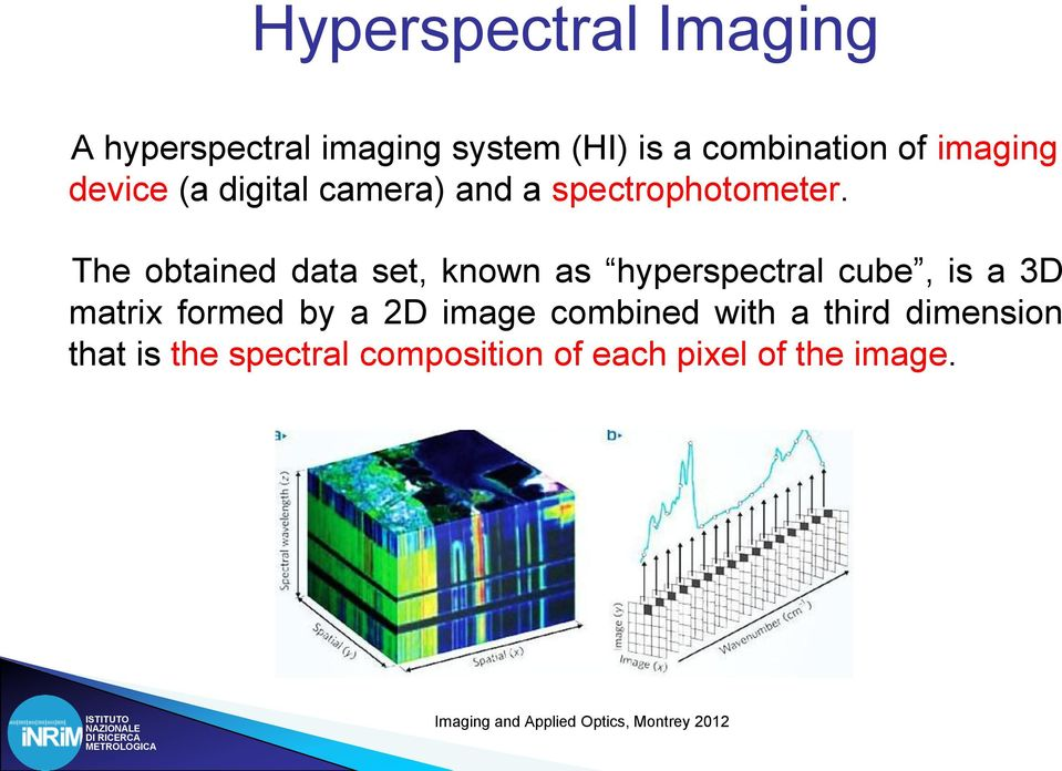 The obtained data set, known as hyperspectral cube, is a 3D matrix formed by a 2D image