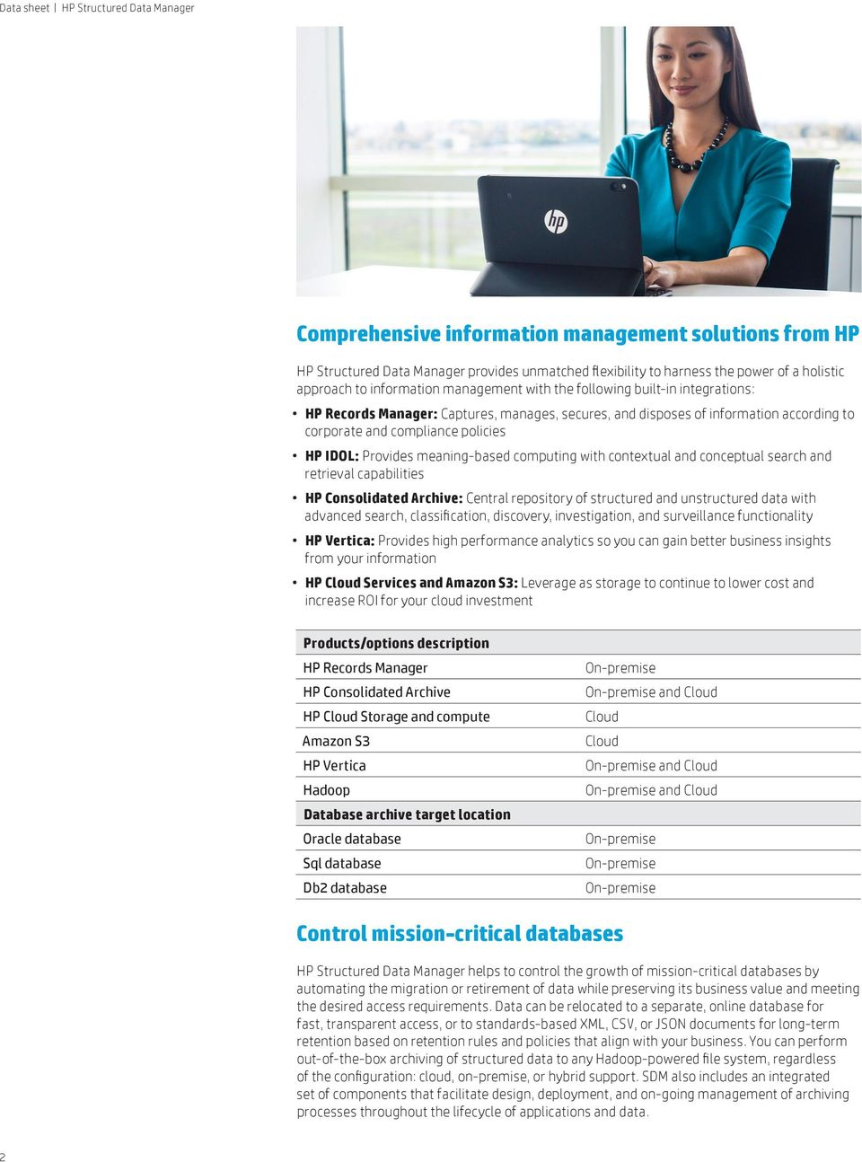 with contextual and conceptual search and retrieval capabilities HP Consolidated Archive: Central repository of structured and unstructured data with advanced search, classification, discovery,