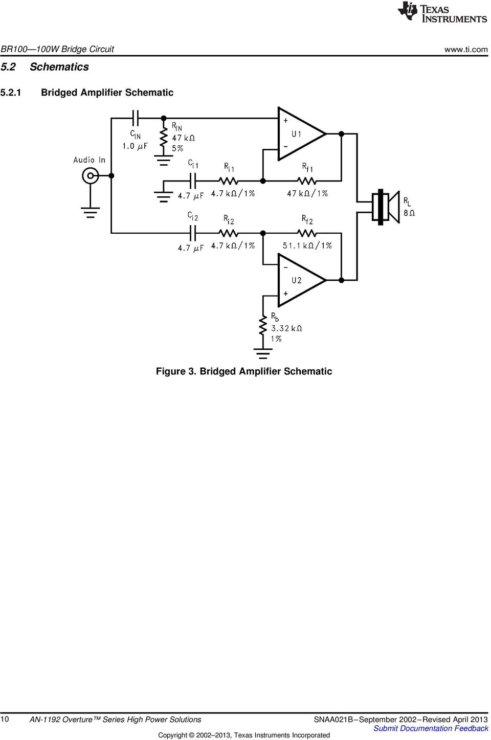 Bridged Amplifier Schematic