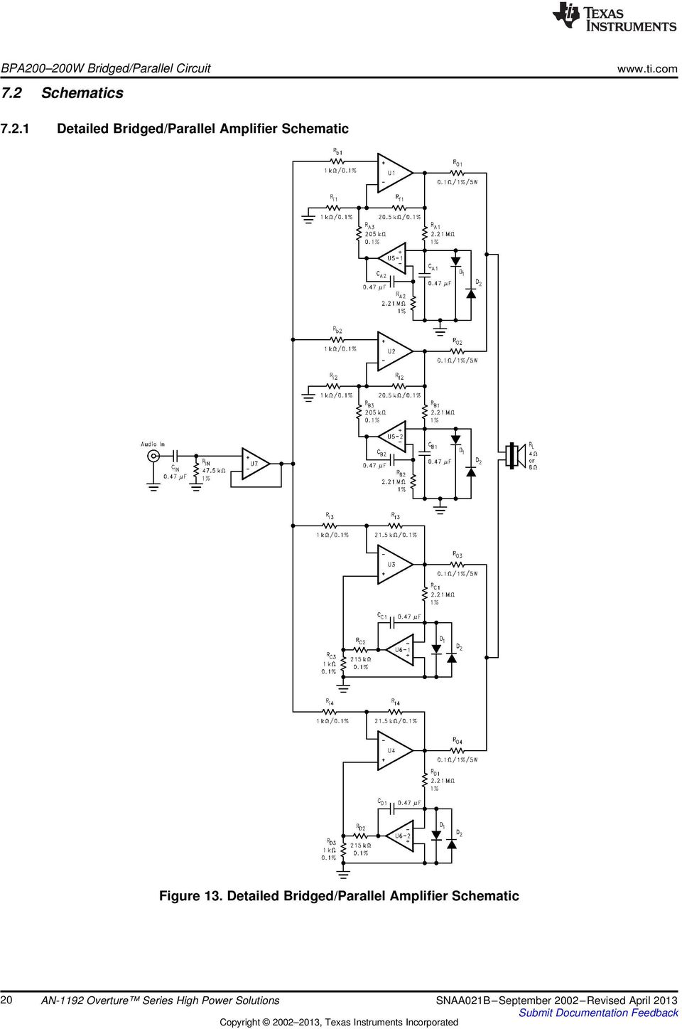 Bridged/Parallel Amplifier Schematic Figure