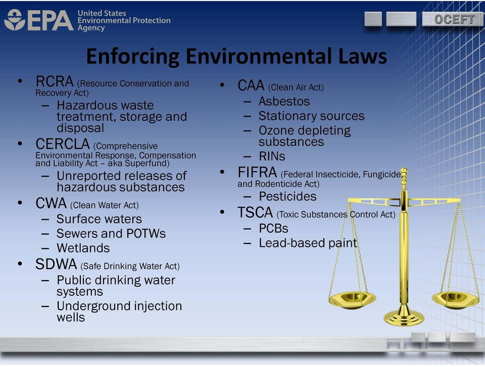 Sewers and POTWs Wetlands SDWA (Safe Drinking Water Act) Public drinking water systems Underground injection wells CAA (Clean Air Act) Asbestos Stationary