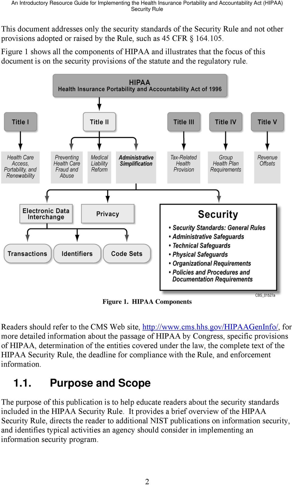 Figure 1 shows all the components of HIPAA and illustrates that the focus of this document is on the security provisions of the statute and the regulatory rule. Figure 1.