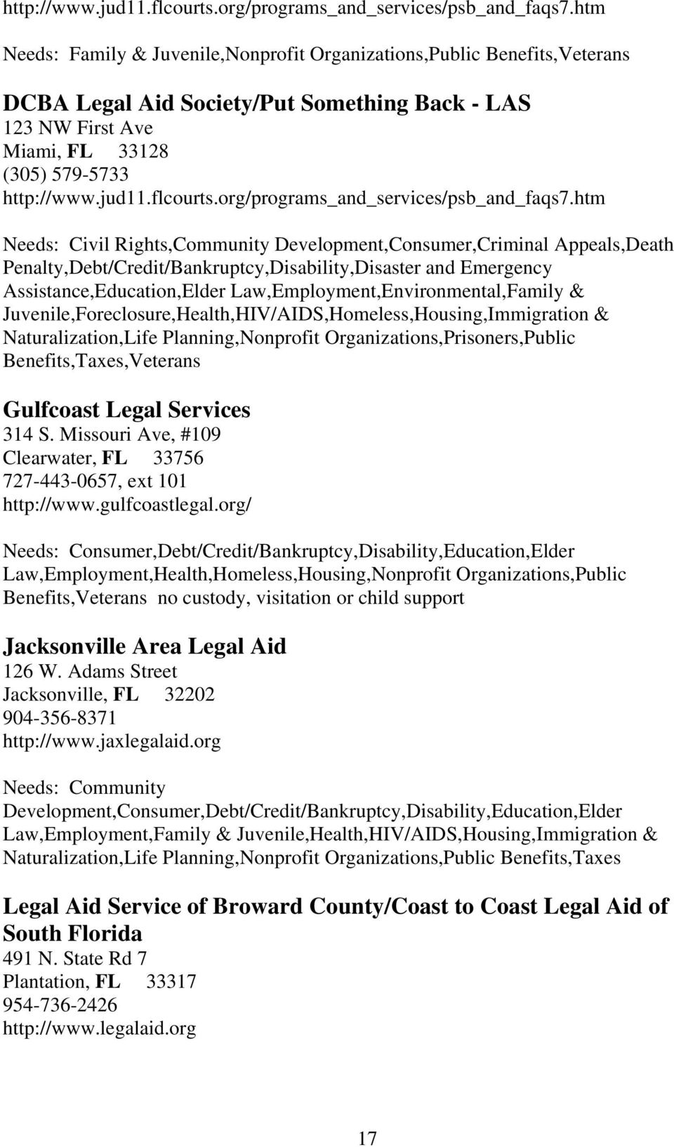 Development,Consumer,Criminal Appeals,Death Penalty,Debt/Credit/Bankruptcy,Disability,Disaster and Emergency Assistance,Education,Elder Law,Employment,Environmental,Family &
