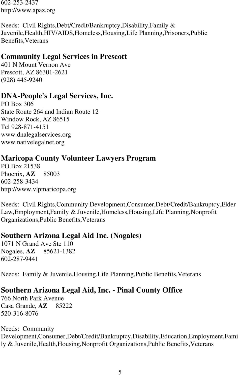 N Mount Vernon Ave Prescott, AZ 86301-2621 (928) 445-9240 DNA-People's Legal Services, Inc. PO Box 306 State Route 264 and Indian Route 12 Window Rock, AZ 86515 Tel 928-871-4151 www.dnalegalservices.