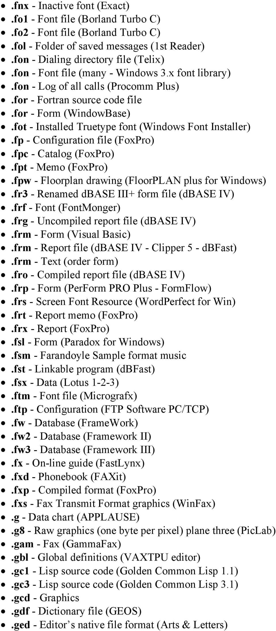 fp - Configuration file (FoxPro).fpc - Catalog (FoxPro).fpt - Memo (FoxPro).fpw - Floorplan drawing (FloorPLAN plus for Windows).fr3 - Renamed dbase III+ form file (dbase IV).frf - Font (FontMonger).