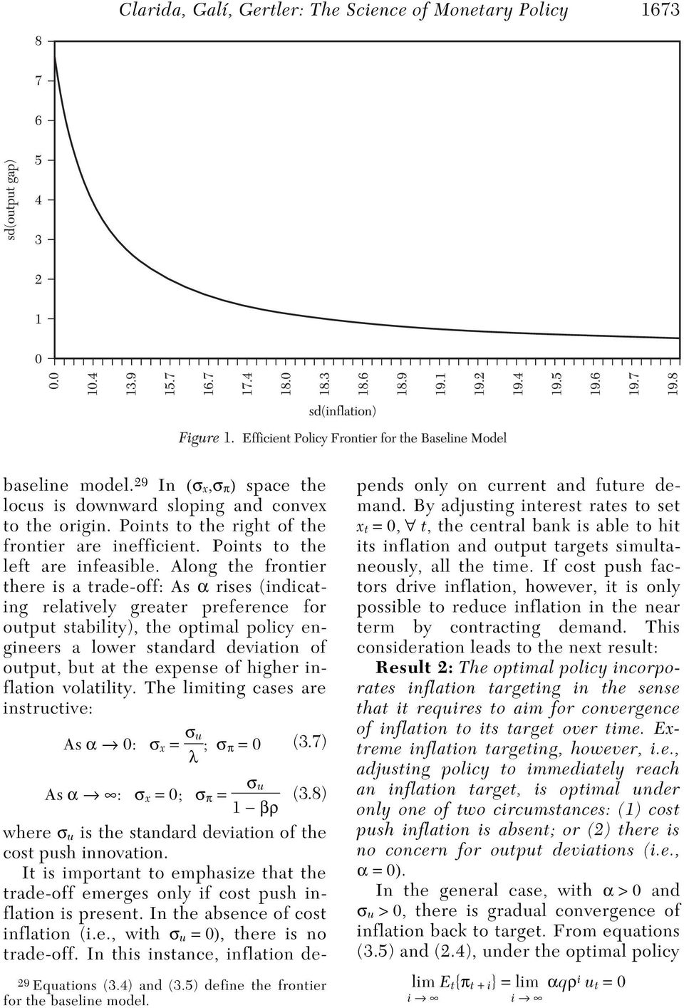 Along the frontier there is a trade-off: As α rises (indicating relatively greater preference for output stability), the optimal policy engineers a lower standard deviation of output, but at the
