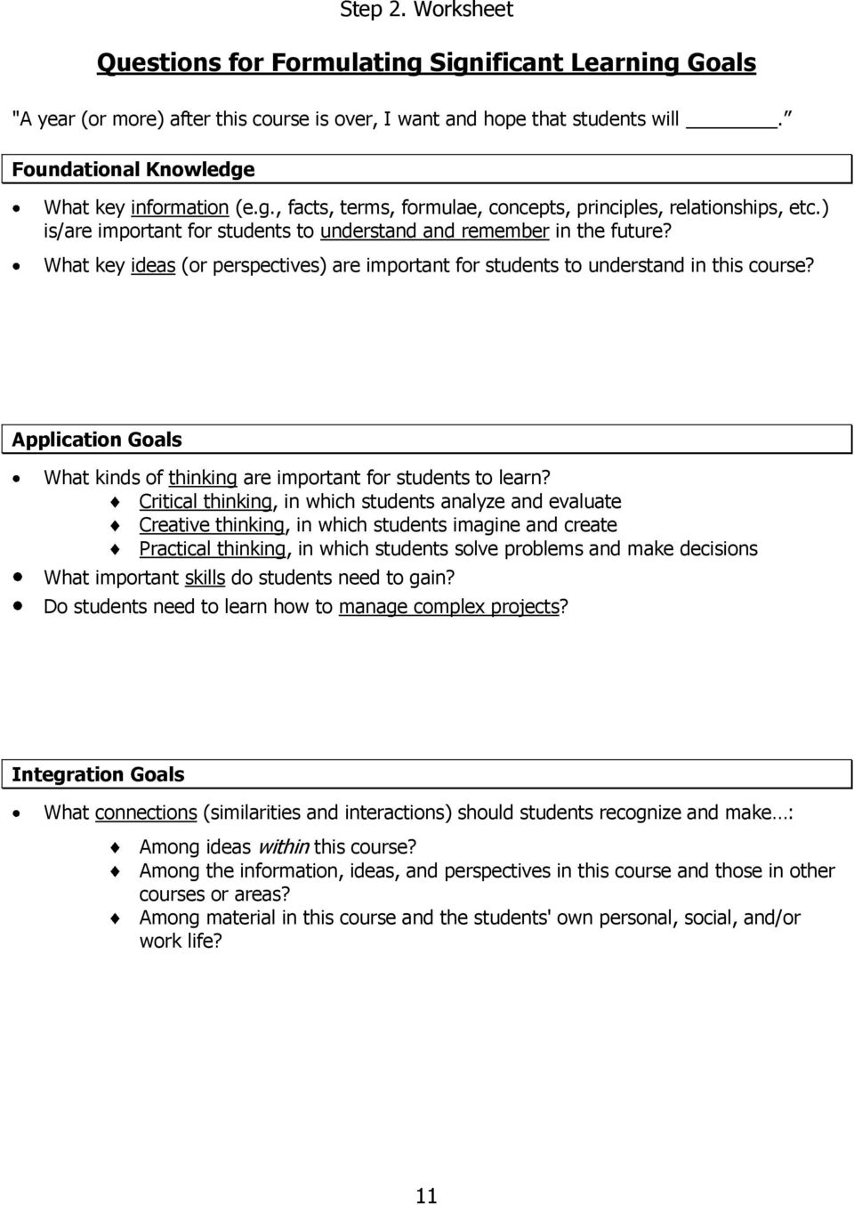 What key ideas (or perspectives) are important for students to understand in this course? Application Goals What kinds of thinking are important for students to learn?