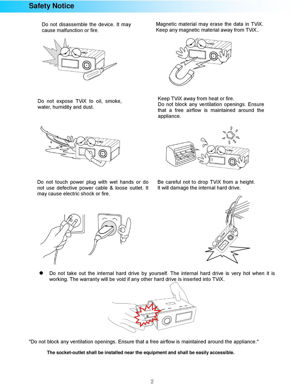 Do not touch power plug with wet hands or do not use defective power cable &