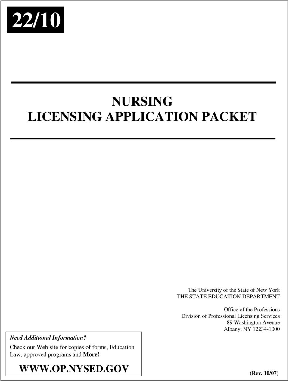 22/10 NURSING LICENSING APPLICATION PACKET - PDF