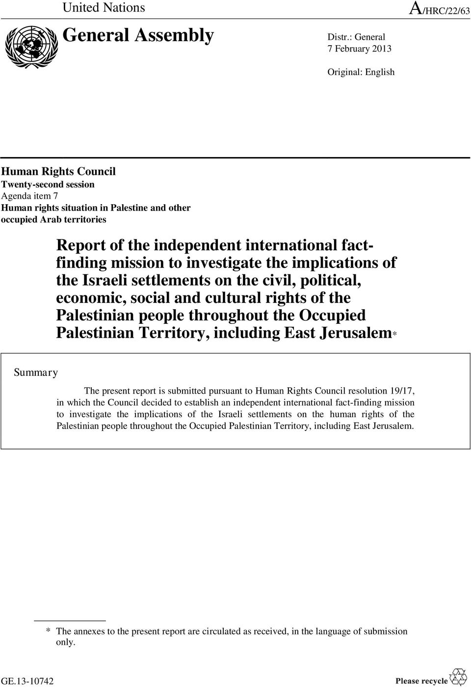 independent international factfinding mission to investigate the implications of the Israeli settlements on the civil, political, economic, social and cultural rights of the Palestinian people