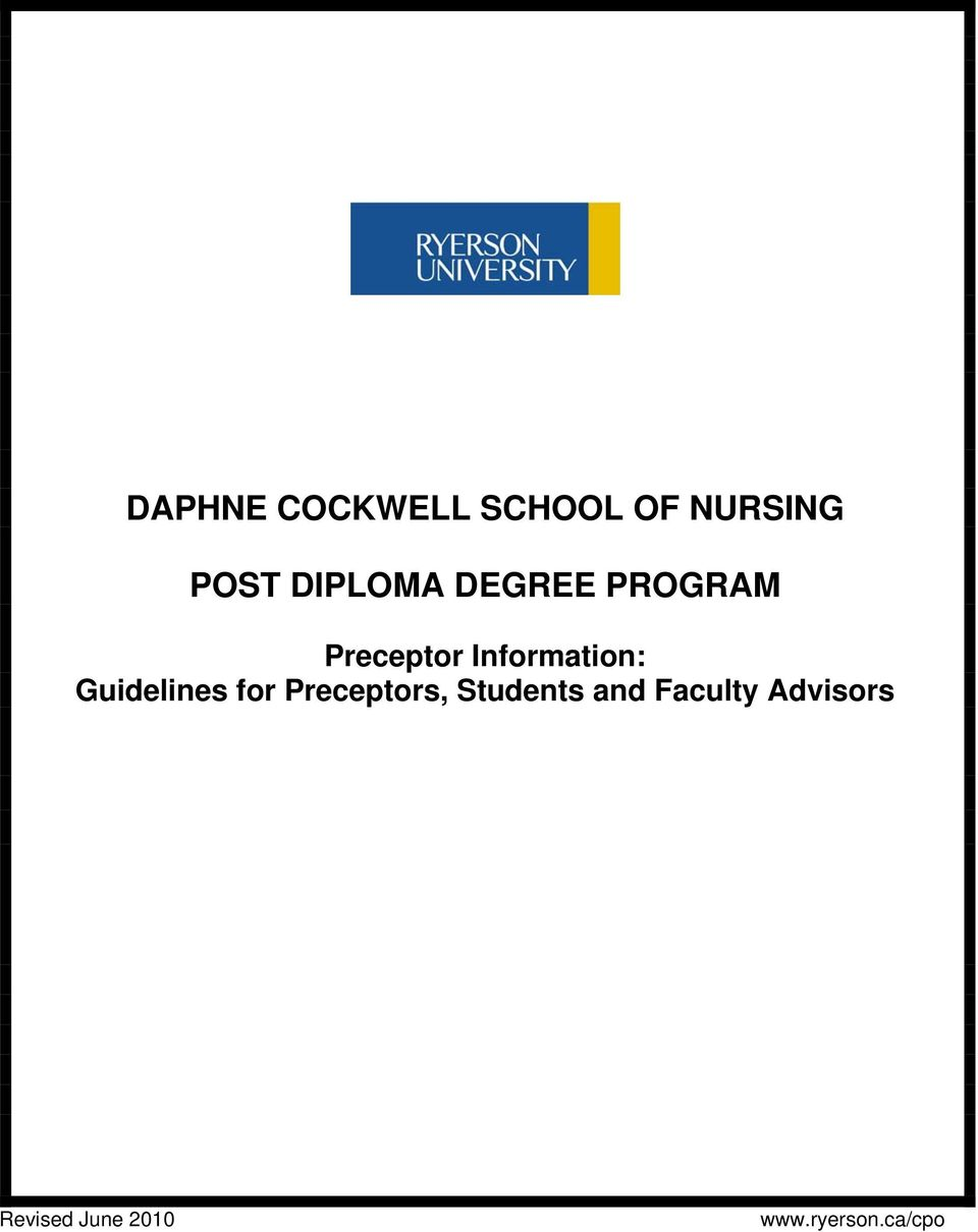Information: Guidelines for Preceptors,